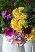 David Austin Roses, Hydrangea & Valarian in a Vintage Vase