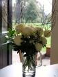 Chrysanthemum Allouise White, Choisya Terrnata & Viburnum tinus in a December bouquet
