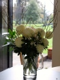 Chrysanthemum Allouise White, Choisya Terrnata & Viburnum tinus in a December bouquet
