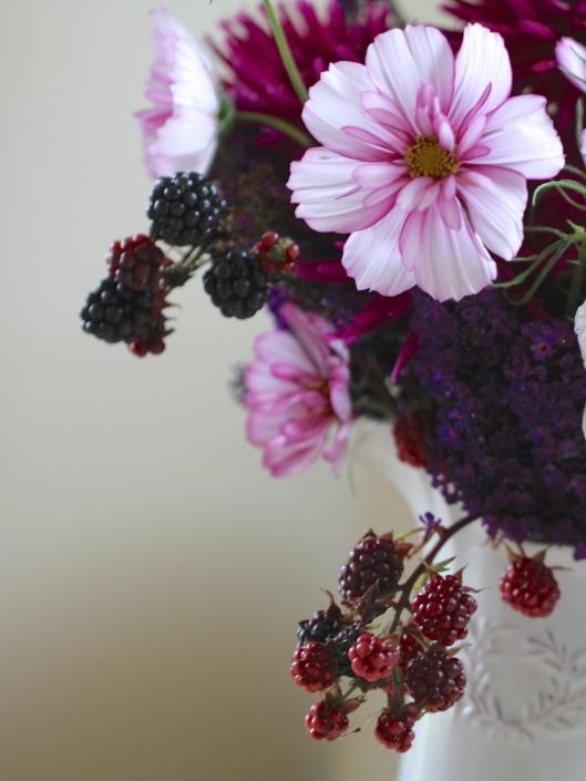 Buddleja-Dahlia-and-Cosmos-Vase